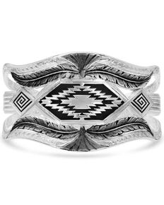 Montana Silversmiths Women's Courage & Strength Feather Cut-Out Cuff Bracelet, Silver, hi-res