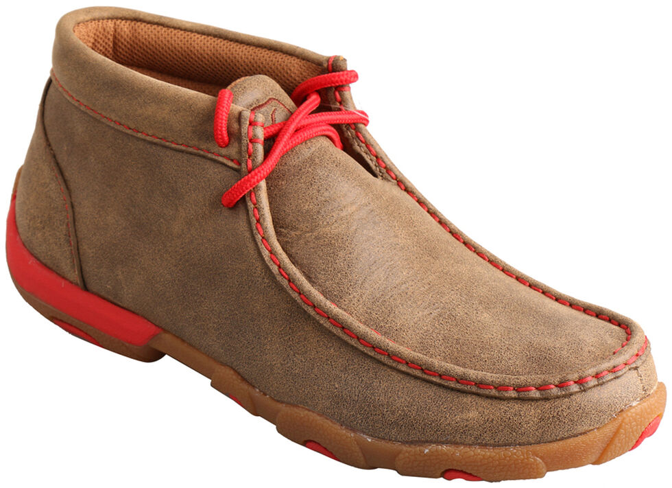Twisted X Women's Brown and Red Driving Mocs , Bomber, hi-res