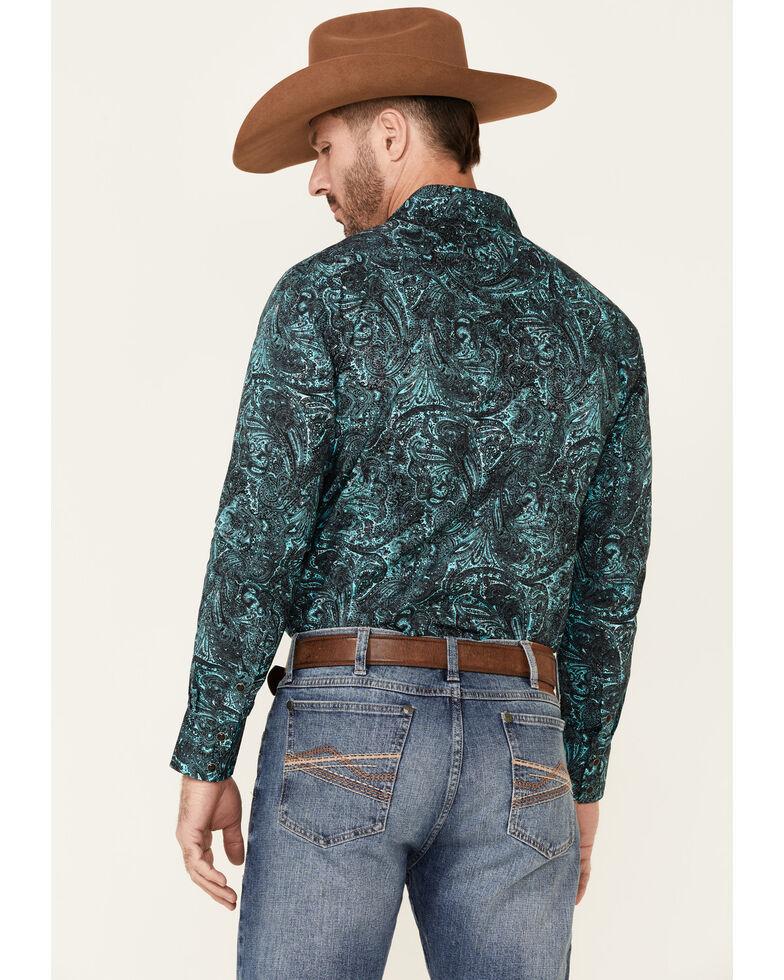 Rock & Roll Denim Men's Turquoise Paisley Print Long Sleeve Snap Western Shirt , Turquoise, hi-res