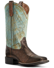 Ariat Women's Round Up Rio Western Boots - Wide Square Toe, Brown, hi-res