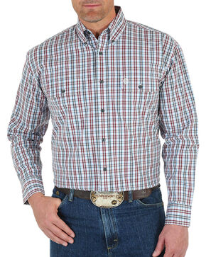 Wrangler Men's George Strait  Plaid Long Sleeve Shirt, White, hi-res