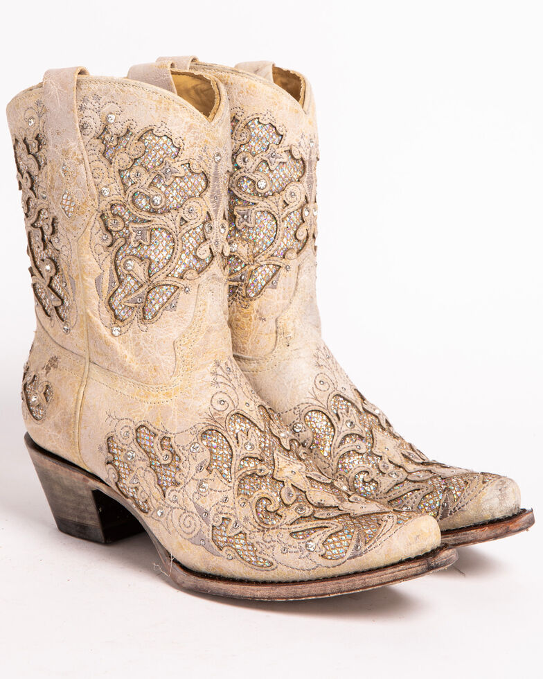 Corral Women's Metallic Glitter Inlay & Crystal Boots - Snip Toe, White, hi-res