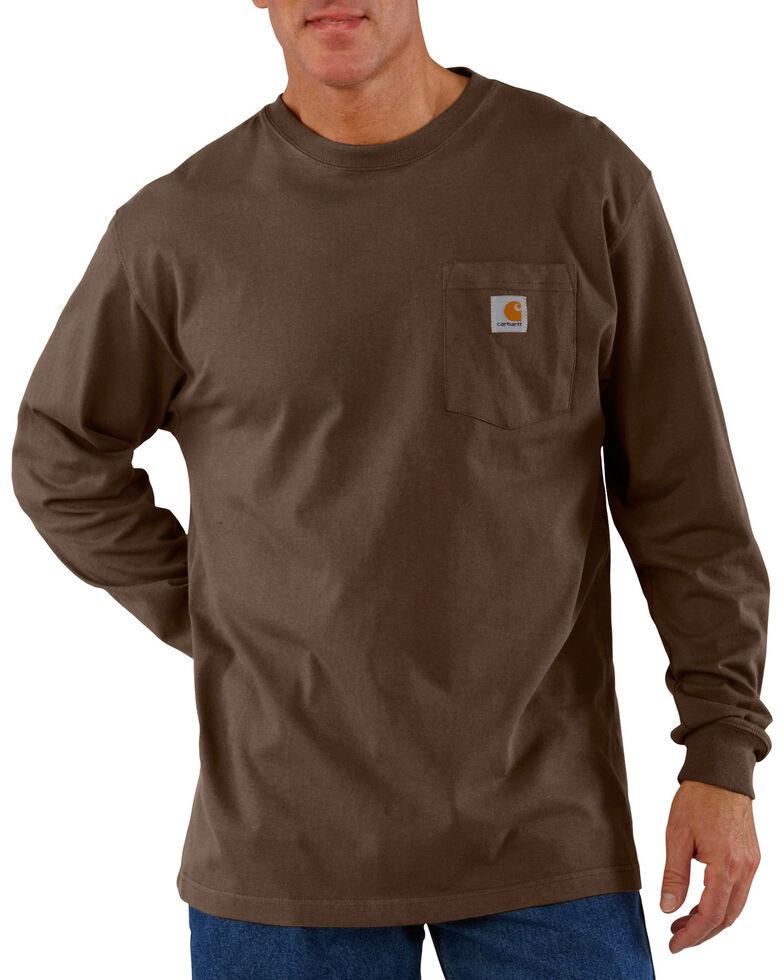 Carhartt Long Sleeve Pocket Work Shirt - Tall, Dark Brown, hi-res