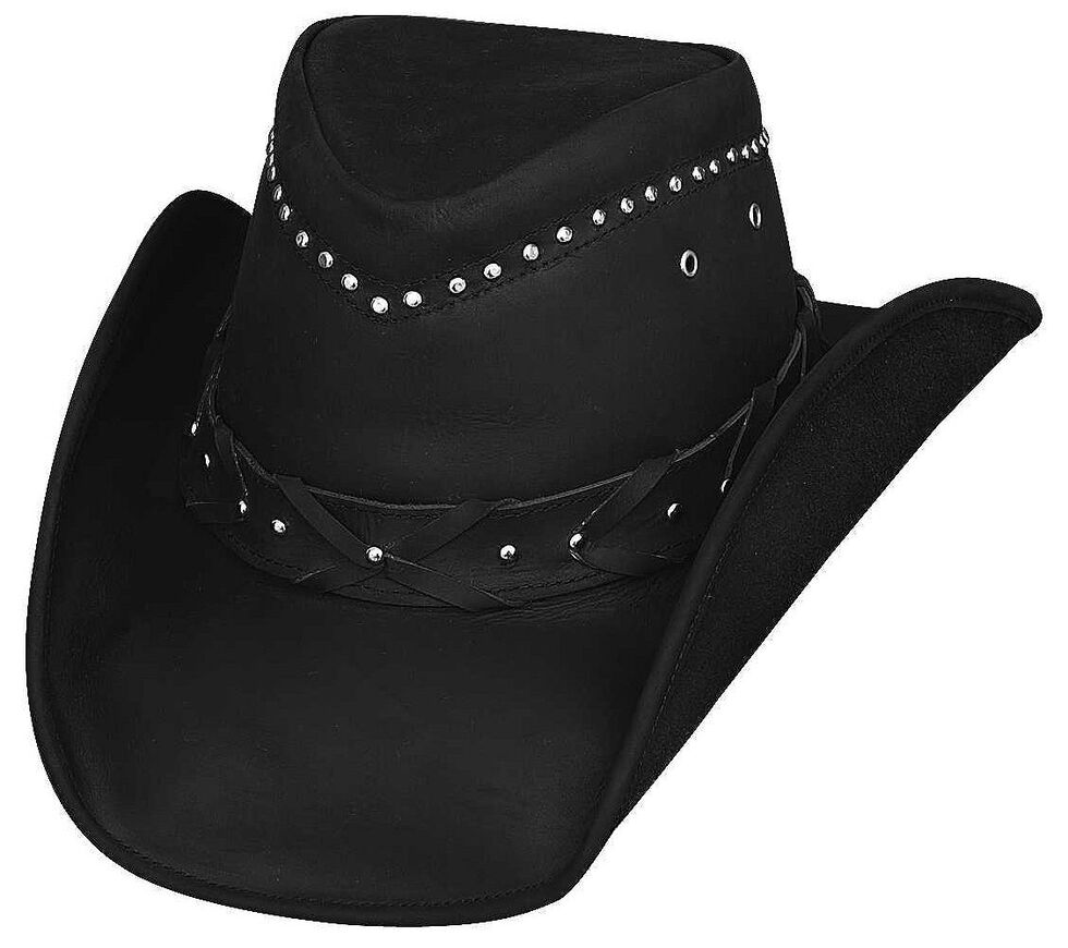 Bullhide Burnt Dust Top Grain Leather Hat, Black, hi-res