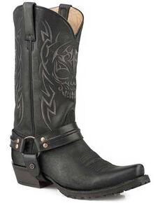Roper Men's Skull Lug Western Boots - Snip Toe, Black, hi-res