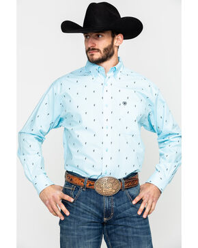 Ariat Men's Edholm Geo Print Long Sleeve Western Shirt , Blue, hi-res