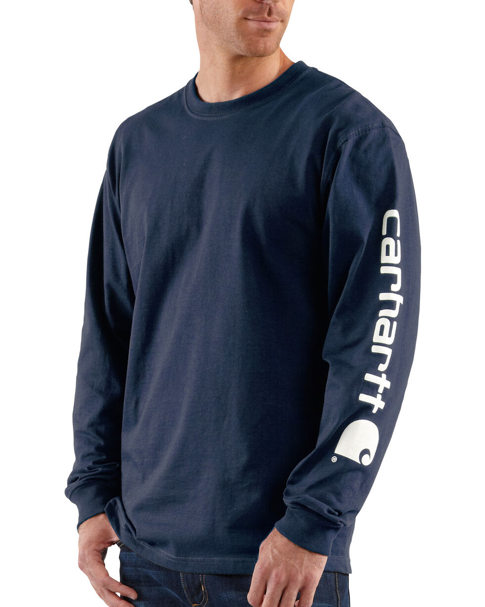 Carhartt Signature Logo Sleeve Knit T-Shirt, Navy, hi-res