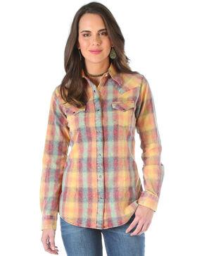 Wrangler Women's Camel Plaid Western Shirt , Multi, hi-res