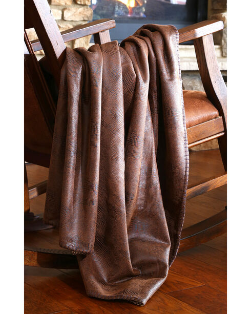 Carstens Crocodile Brown Throw Blanket, Brown, hi-res