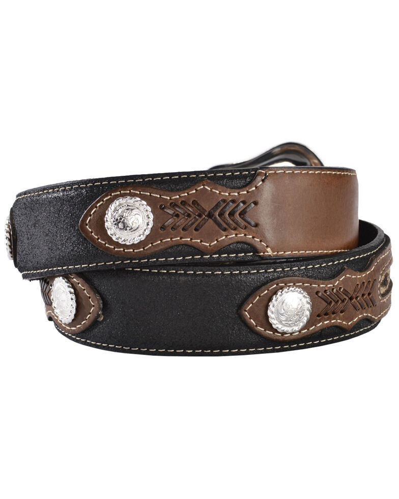 Nocona Top Hand Fabric Inset Center Concho Belt - Large, Black, hi-res