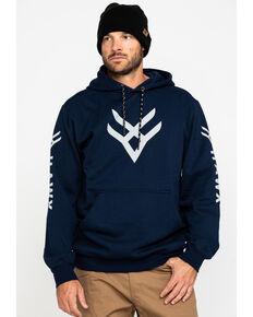Hawx Men's Blue Reflective Logo Performance Hooded Work Sweatshirt, Blue, hi-res