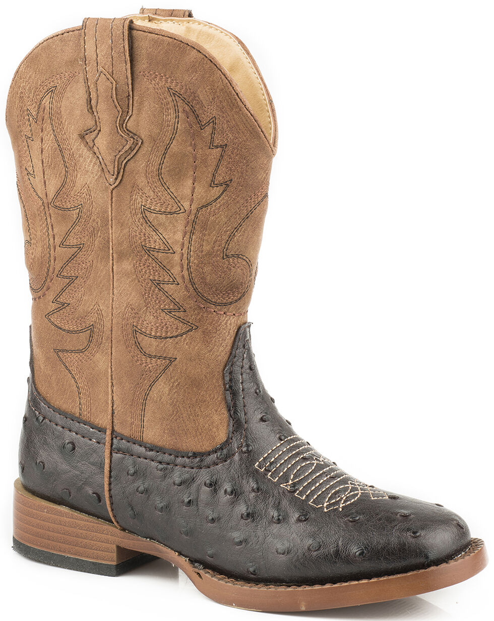 Roper Youth Boys' Brown Faux Ostrich Print Cowboy Boots - Square Toe , Brown, hi-res