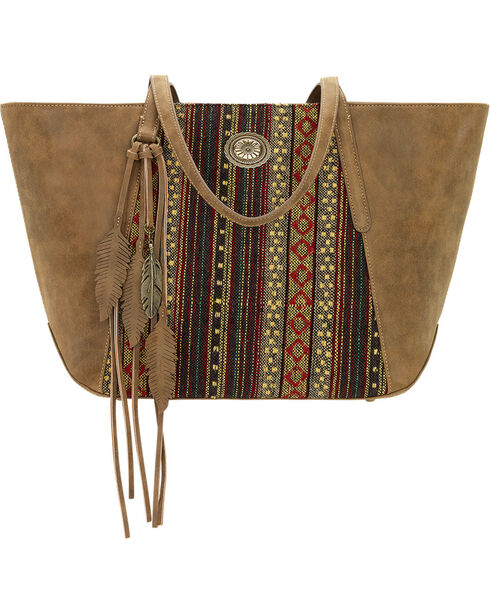 American West Bandana Women's Brown Serape Zip Top Tote , Brown, hi-res