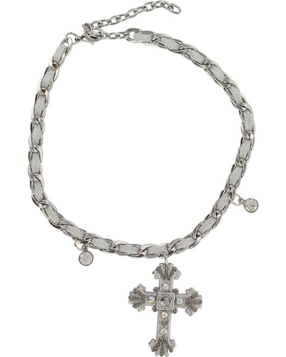 Shyanne Women's Silver Cross Boot Bracelet, Silver, hi-res