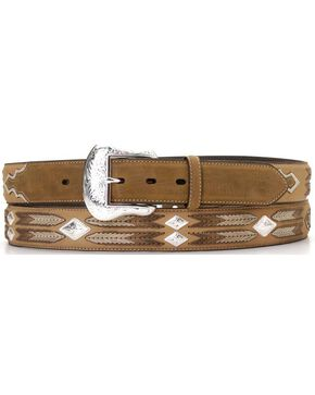 Nocona Leather Overlay String Lacing Diamond Concho Belt, Med Brown, hi-res