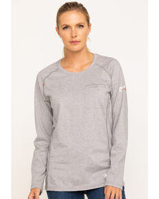 Ariat Women's FR Heather Grey Air Crew Pocket Long Sleeve Work Tee , Light Grey, hi-res