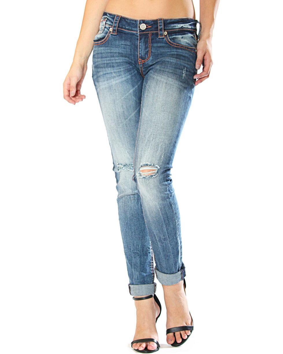 Grace in LA Women's Distressed Skinny Jeans , Indigo, hi-res