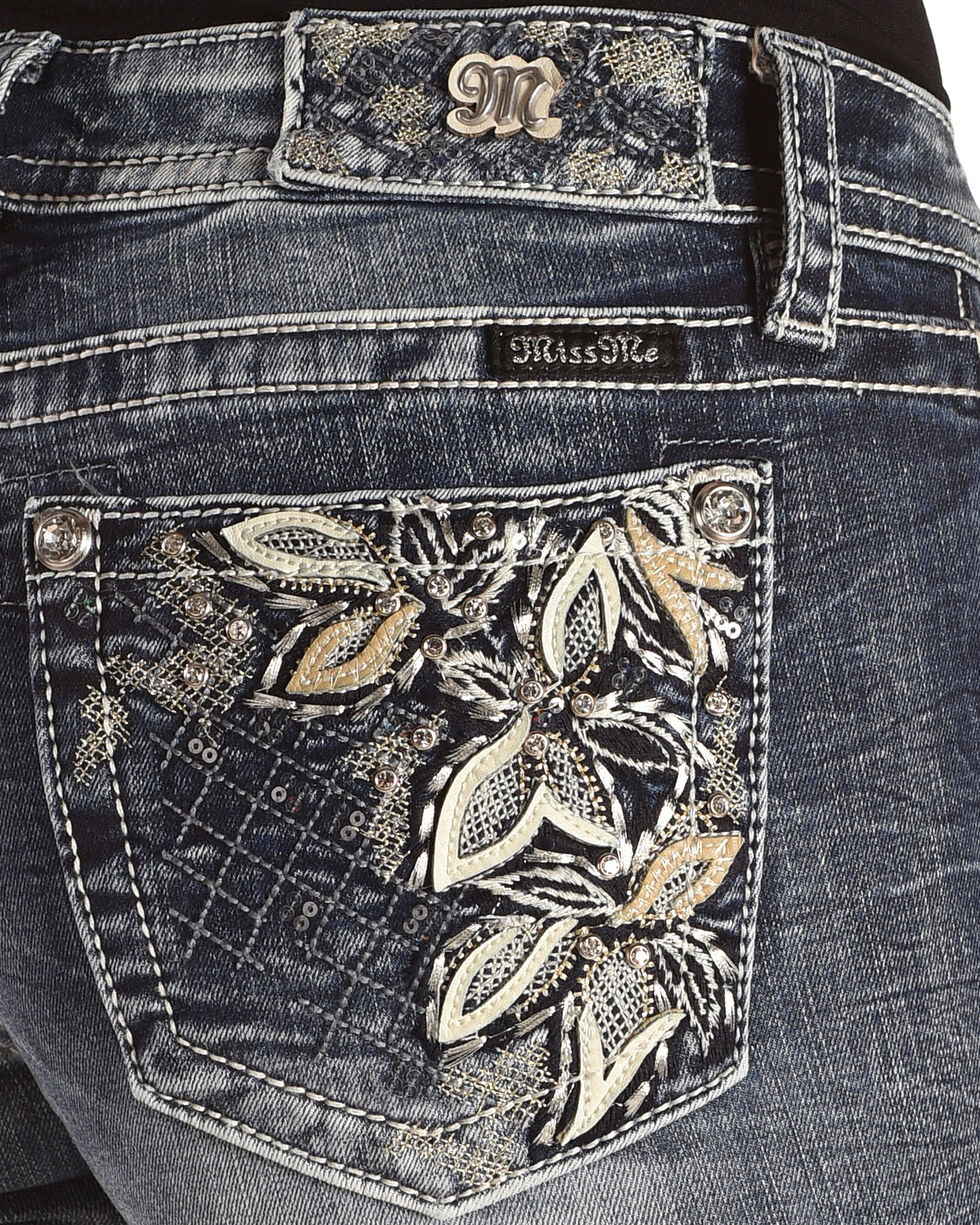 "Miss Me Women's Floral Embroidered Boot Cut Jeans - 34"" Inseam, , hi-res"