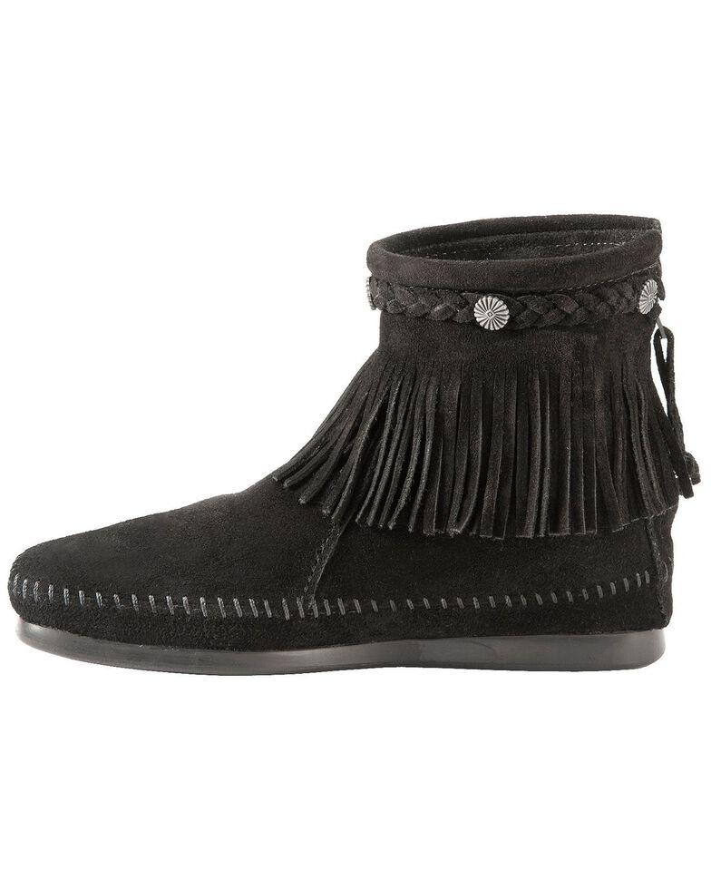 Minnetonka Back Zipper Ankle Moccasins, Black, hi-res