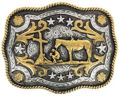 Cody James Men's Christian Cowboy Rectangle Belt Buckle, Silver, hi-res