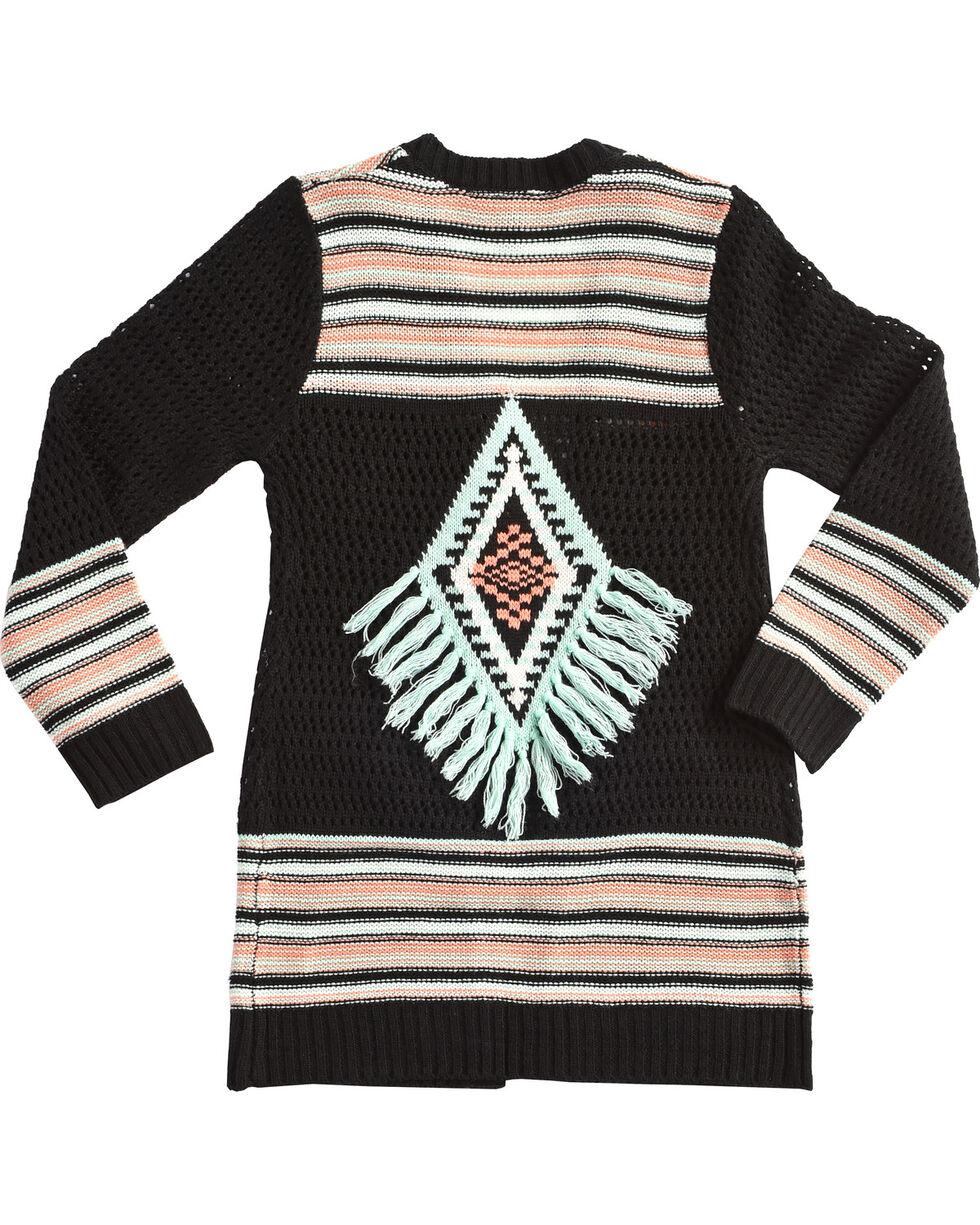 Derek Heart Girls' Long Sleeve Tribal Striped Cardigan, Blue, hi-res