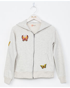 Miss Me Girls' Butterfly Effect Hoodie, Light Grey, hi-res