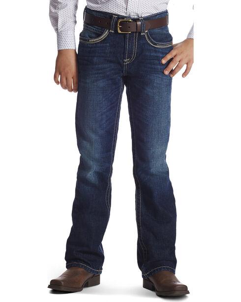 Ariat Boys' B4 Ridgeline Relaxed Fit Boot Cut Jeans, Dark Blue, hi-res