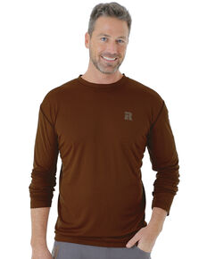 Wrangler Riggs Men's Crew Performance Long Sleeve Work T-Shirt, Brown, hi-res