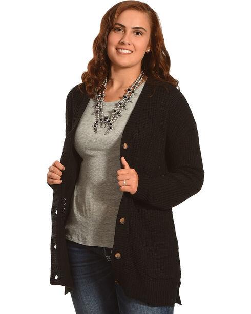 Derek Heart Women's Long Sleeve Drop Shoulder Shaker Ribbed Cardigan - Plus, Black, hi-res