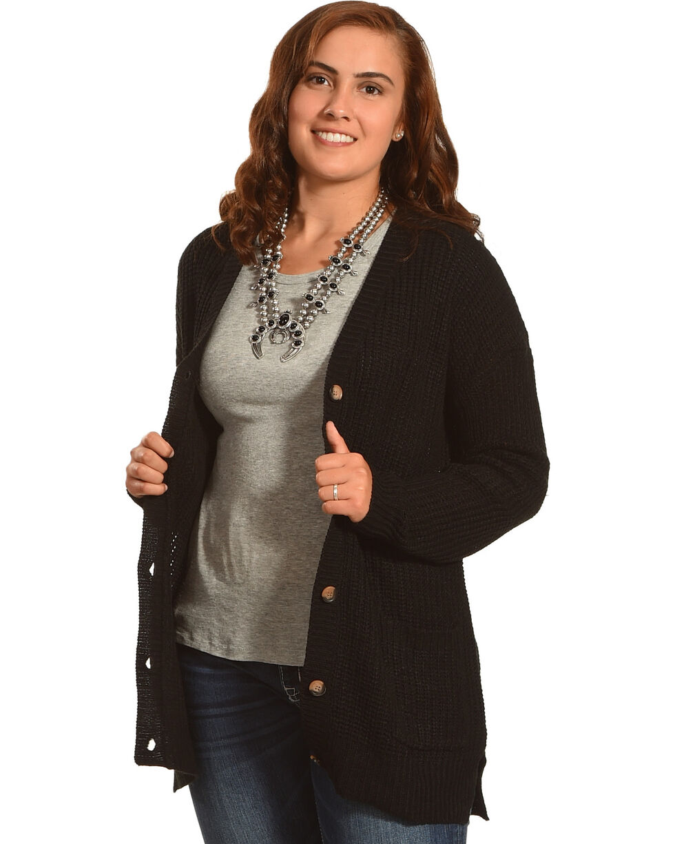 Derek Heart Women's Long Sleeve Drop Shoulder Shaker Ribbed Cardigan - Plus, , hi-res