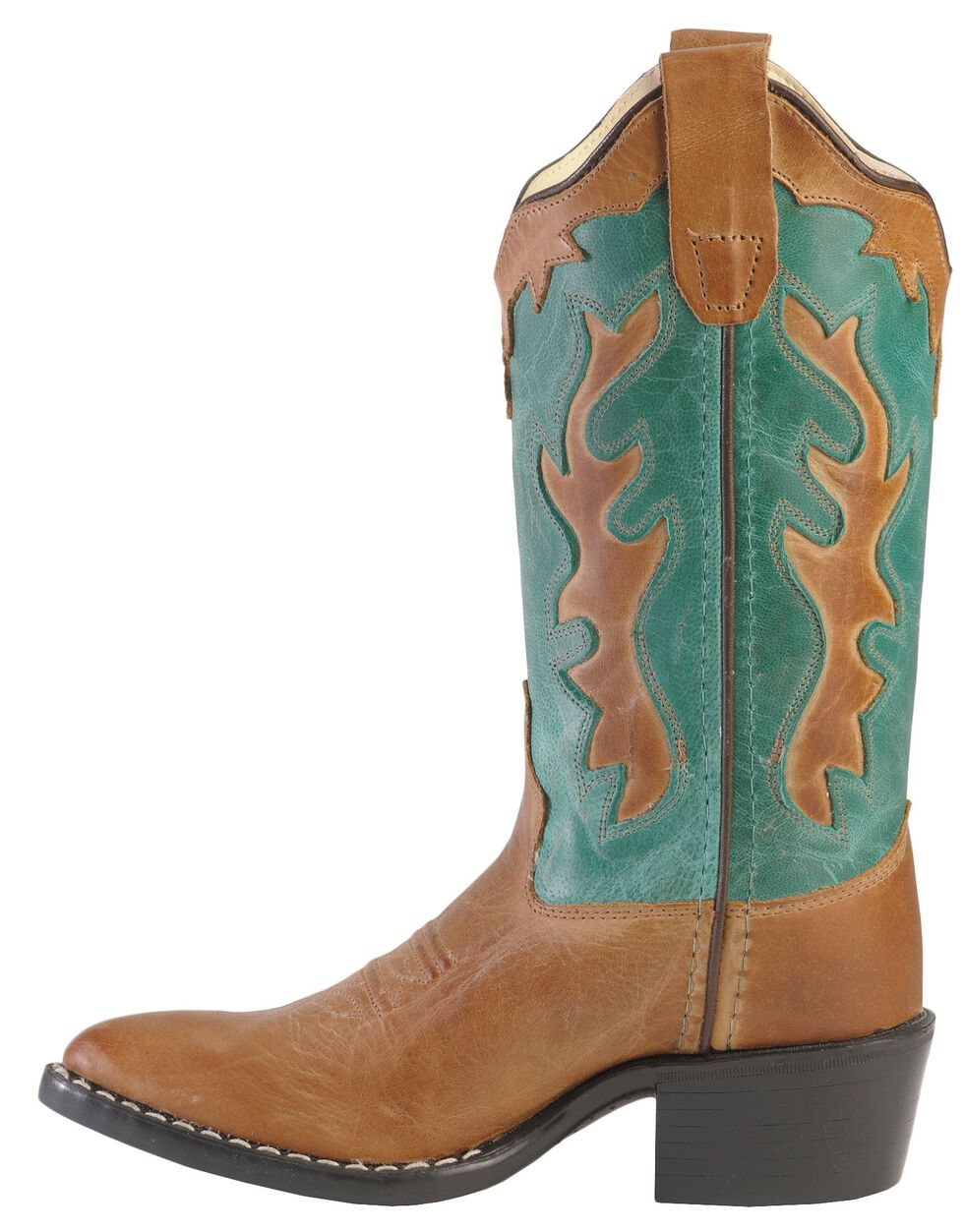 Old West Boys' Western Inlay Cowboy Boots - Pointed Toe, Tan, hi-res
