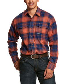 Ariat Men's San Juan Rebar Flannel Durastretch Long Sleeve Work Shirt , Multi, hi-res