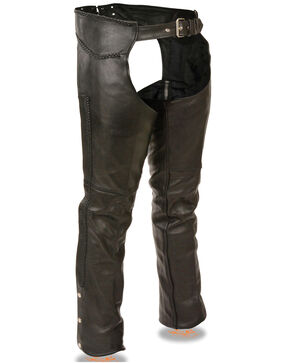 Milwaukee Leather Men's Braided Detail Leather Chaps - 5XL, Black, hi-res