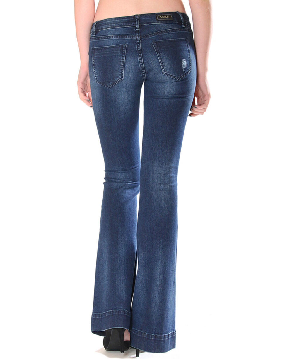 Grace in LA Women's Simple Flare Trousers, Indigo, hi-res