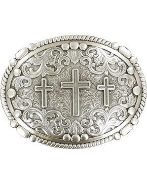 Nocona genuine silver plated 3 cross buckle, Silver, hi-res