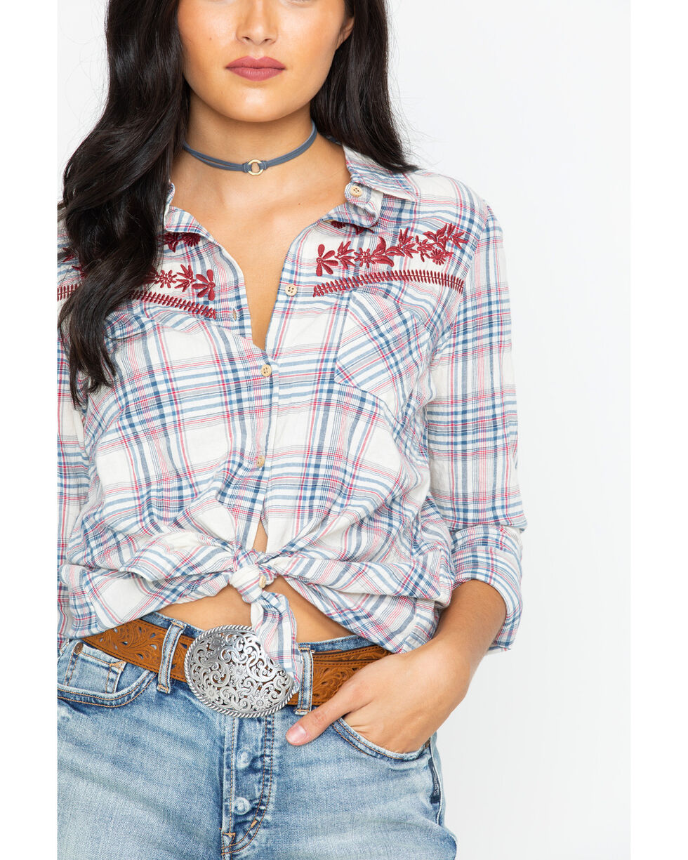 Shyanne Women's Floral Embroidered Plaid Long Sleeve Shirt, Multi, hi-res