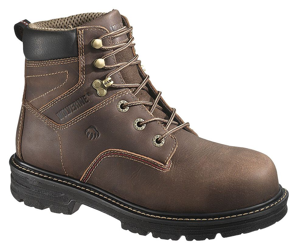 "Wolverine Nolan 6"" Waterproof Work Boots - Composite Toe, Dark Brown, hi-res"