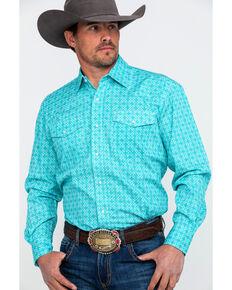 74e85e2b Roper Mens Amarillo Geo Print Long Sleeve Western Shirt , Turquoise, hi-res