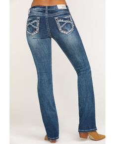 Grace in LA Women's Medium Deco Pocket Bootcut Jeans, Blue, hi-res