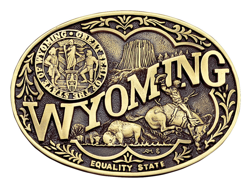 Montana Silversmiths Wyoming State Heritage Attitude Belt Buckle, Gold, hi-res