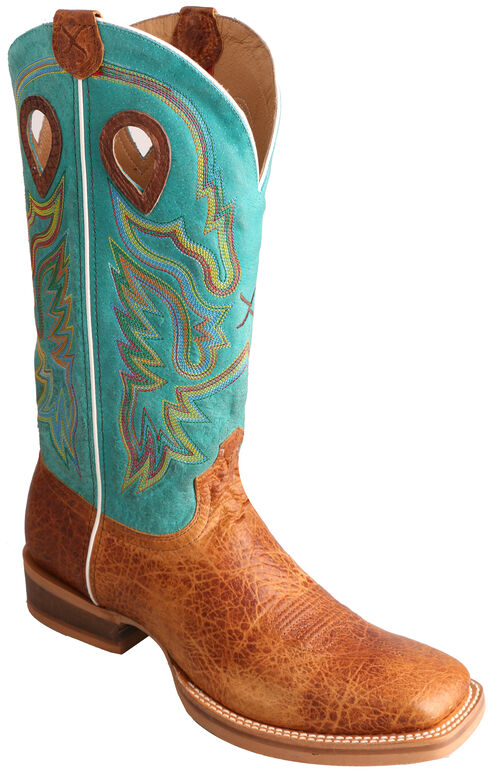 Twisted X Turquoise Ruff Stock Cowboy Boots - Square Toe , Cognac, hi-res