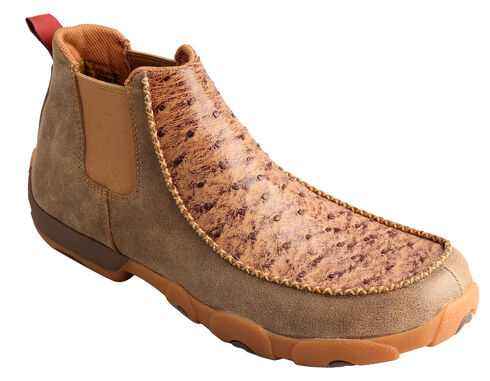 Twisted X Men's Ostrich Leather Driving Mocs, Bomber, hi-res