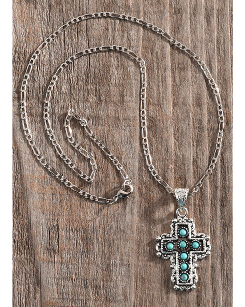 Shyanne Women's Turquoise Stone Inlay Cross Necklace, Silver, hi-res