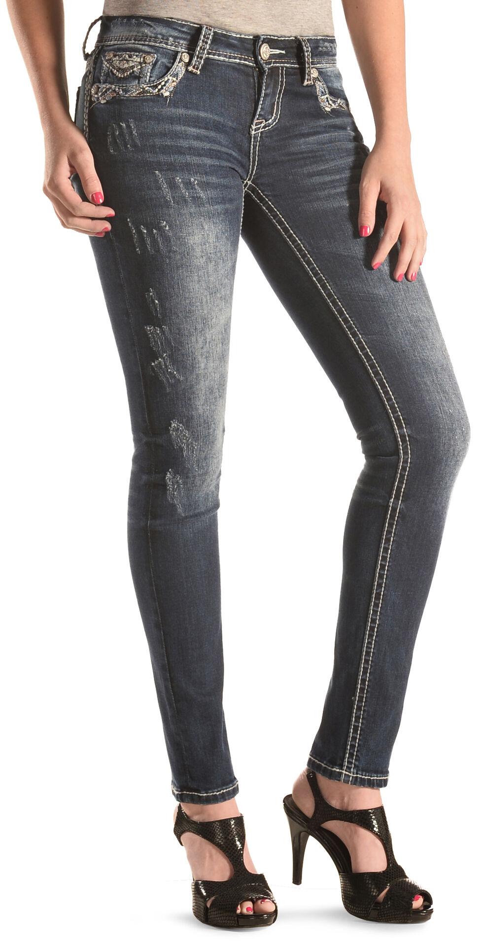 Grace in LA Faded Pyramid Skinny Jeans , Denim, hi-res
