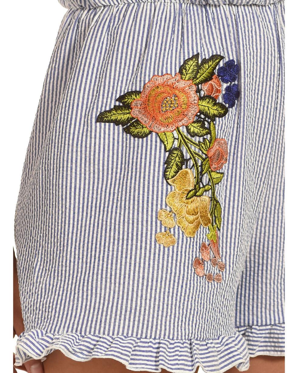 Ces Femme Women's Striped Romper with Floral Patch, Blue, hi-res