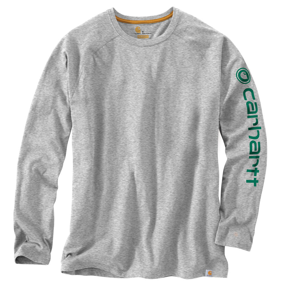 Carhartt Men's Force Cotton Delmont Long Sleeve Graphic T-Shirt - Big & Tall, Grey, hi-res