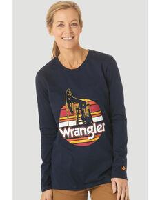 Wrangler FR Women's Oil Rig Graphic Long Sleeve Work T-Shirt , Navy, hi-res