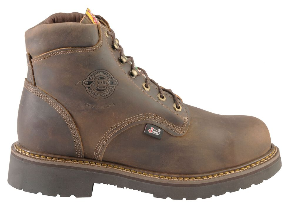 """Justin Men's J-Max 6"""" Balusters Bay Gaucho Puncture Resistant EH Lace-Up Work Boots - Steel Toe, Bay Apache, hi-res"""