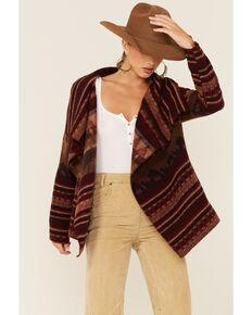 Cripple Creek Women's Sunset Navajo Print Open Front Wrap Jacket , Red, hi-res