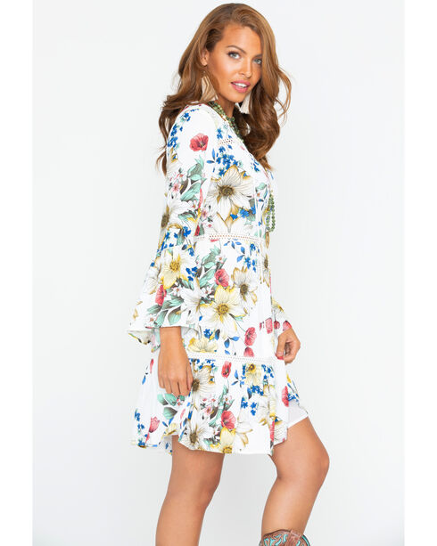 Miss Me Long Sleeve Floral Print Dress, White, hi-res